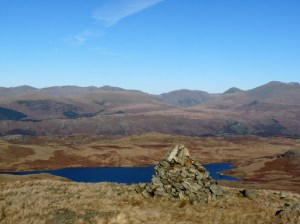 Devoke Water from Woodend Height. Whin Rigg, Illgill Head, Middle Fell, Yewbarrow abd Scafell can be seen.