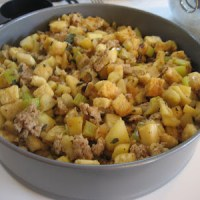 Thanksgiving: Apple, Sausage, and Parsnip Stuffing with Fresh Sage