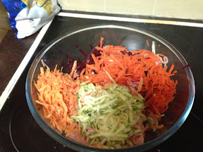 Grated vegetables in the healthy sausage roll mix