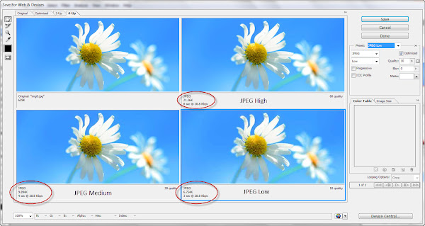 Perbandingan masing-masing preset/Quality