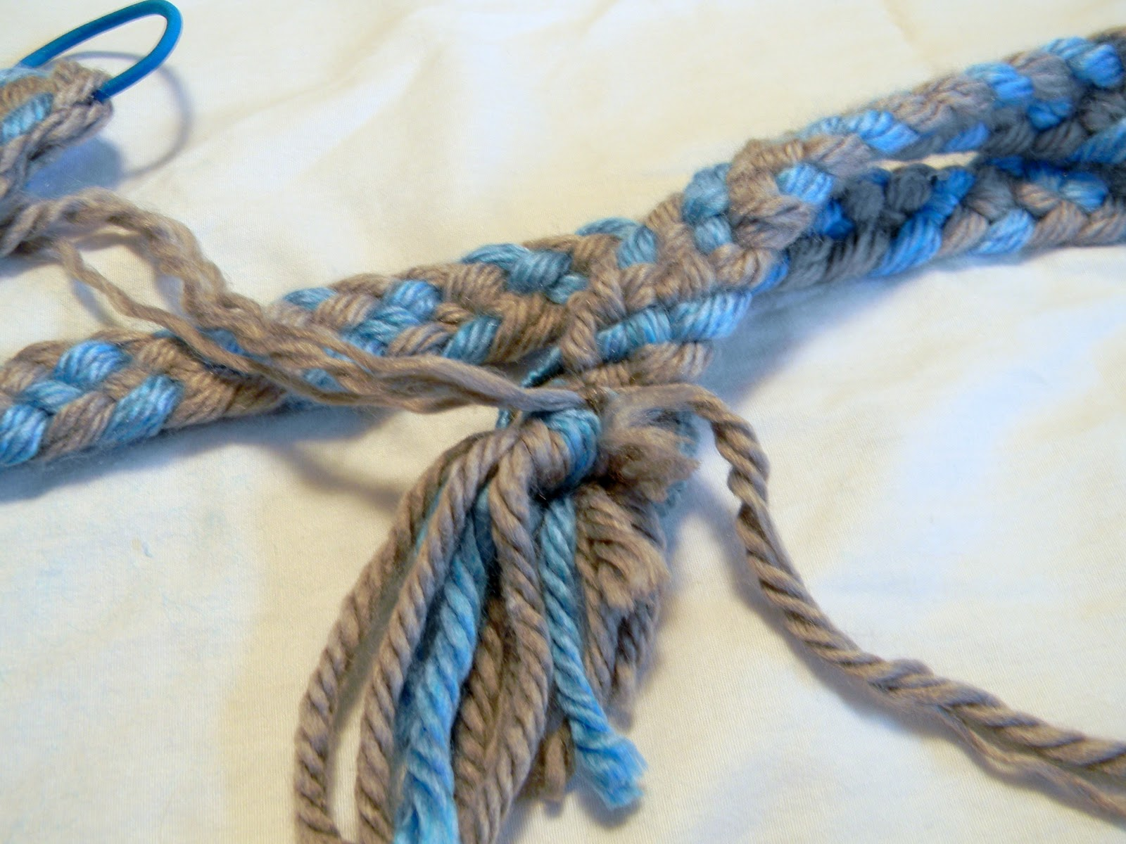 And Tie The Strand Of Yarn Around The Other End Of The Braid