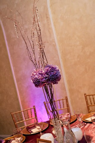 purple tall centerpiece