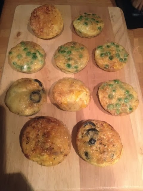 A tray of homemade egg muffins with different fillings