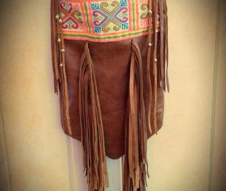 Bright Hmong Leather Fringe Crossbody Bag