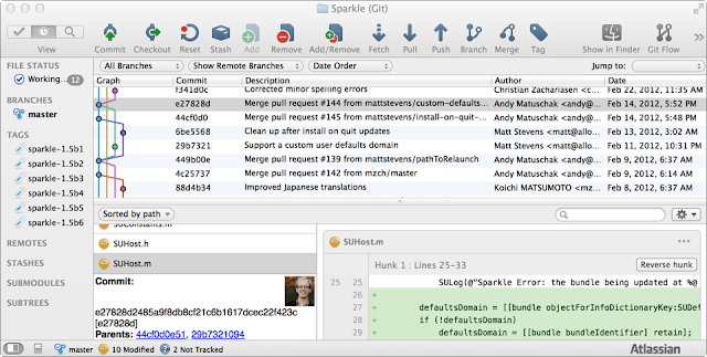 Tampilan SourceTree aplikasi untuk GIT