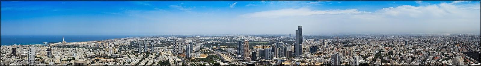 Фото: Панорама: Тель Авив, Рамат Ган, Бней Брак, Гиватаим с крыши Азриэли