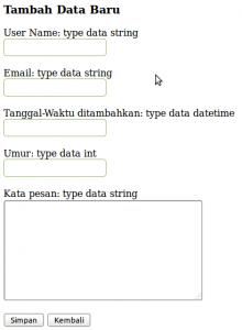 Tampilan Proses Tambah Data PHP MySQL Database Class