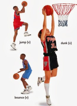 action- jump, dunk, bounce