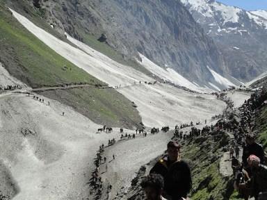 Amarnath pilgrims en route the holy shrine