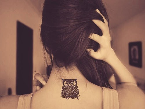 small owl tattoo designs for women behind neck