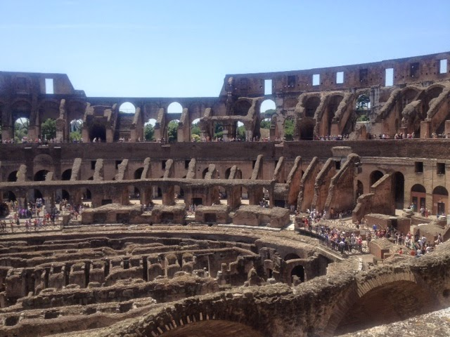 The stone ruins of the Coliseum