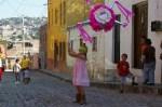 Carla in action on a cobblestone street of Colonia San Rafael in San Miguel de Allende, Mexico.