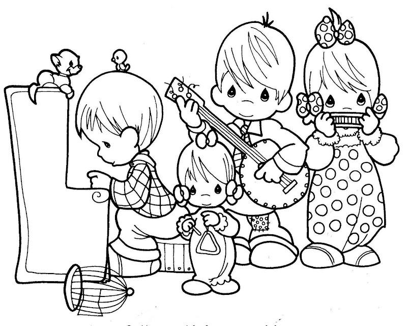 為孩子們的著色頁: Grupo musical precious moments para colorear