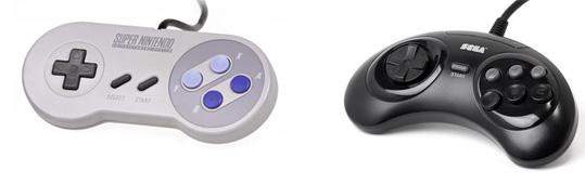 Controles do SNES e Mega Drive