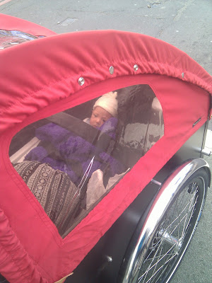 Red cargo trike box with rain cover, baby in car seat inside