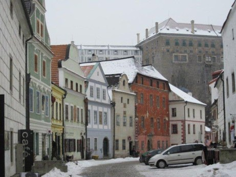 Cesky store fronts below the castle