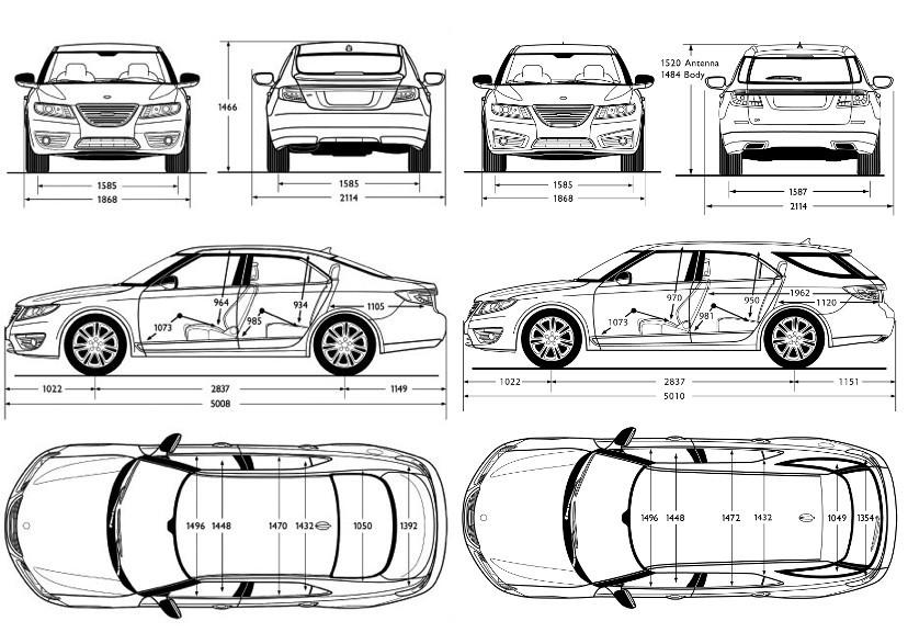 SAAB actu: Saab 9-5 Estate: les dimensions enfin disponibles!