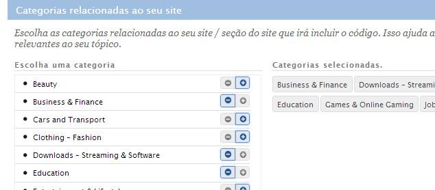 Selecione as categorias e clique em Continuar