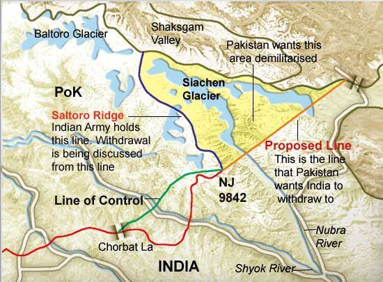 Image result for siachen dispute