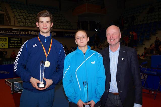 Lauric Jean en Nathalie Marchetti bij Schepen van Sport José Debels