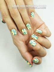nail art closer flowers