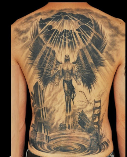 Angel tattoos for men on back