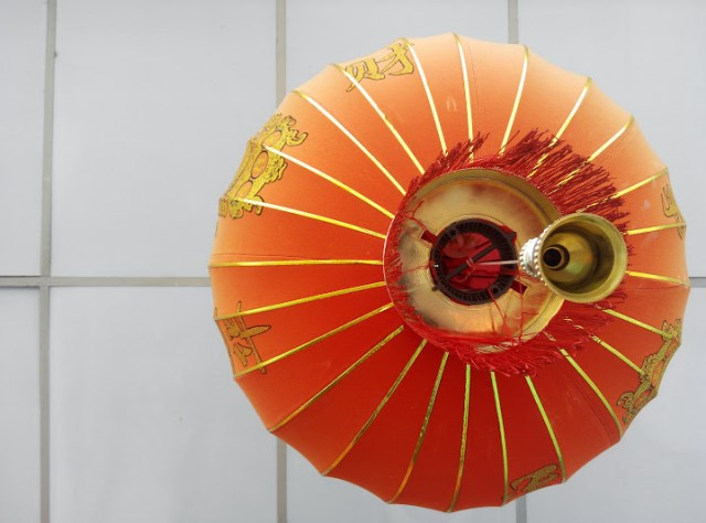 A Chinese hanging lantern deco