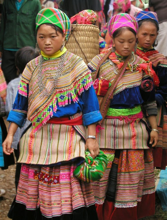Flower Hmong in traditional dress at the market in Bắc Hà, Vietnam