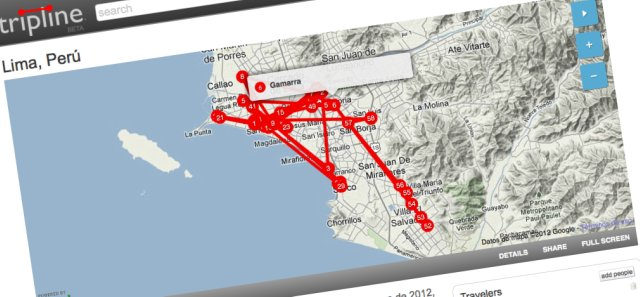 Lima, un mapa creado a partir de Foursquare y Tripline