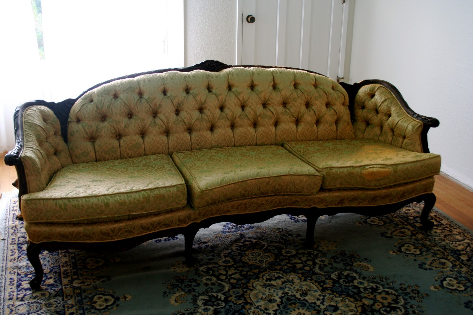 reupholster sofa in leather navy tufted a bit of sunshine before and after the antique