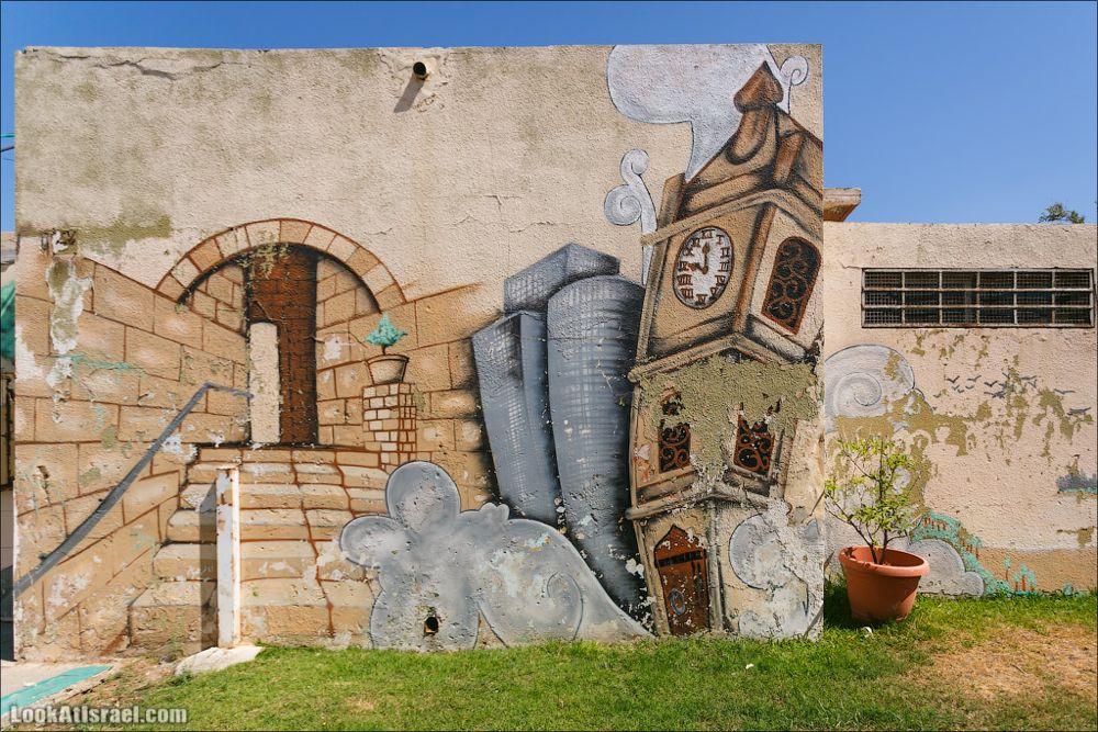 Яффо и небоскребы на граффити Тель Авива