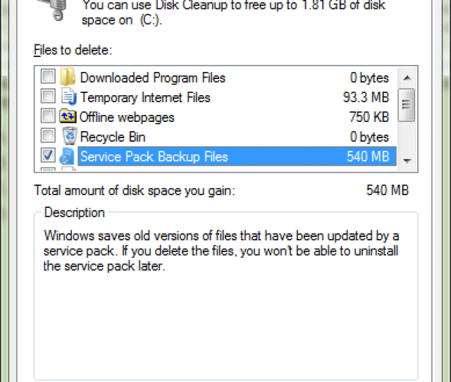 Click Ok To Delete The Service Pack 1 Backup Files This Will Take A Few Moments