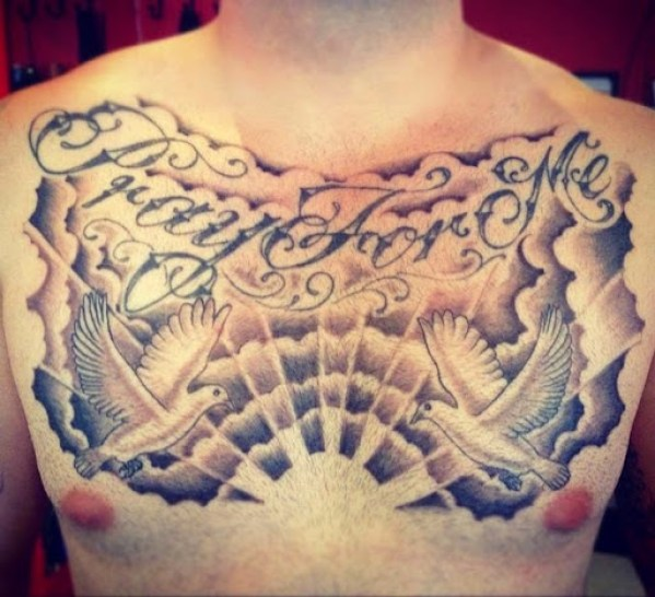 cloud and dove Chest Tattoos for men