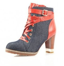 GlamYou Shop - #1 Glamorous WebShop | Jude, jeans and red leather heel ankle boots from Ultraficiel