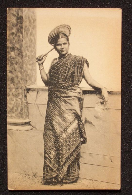 Tamil Lady With A Hand Fan Ceylon Sri Lanka 1910s