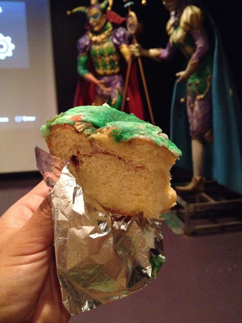 King Cake - a cinnamon pastry type of thing associated with Mardi Gras celebration.