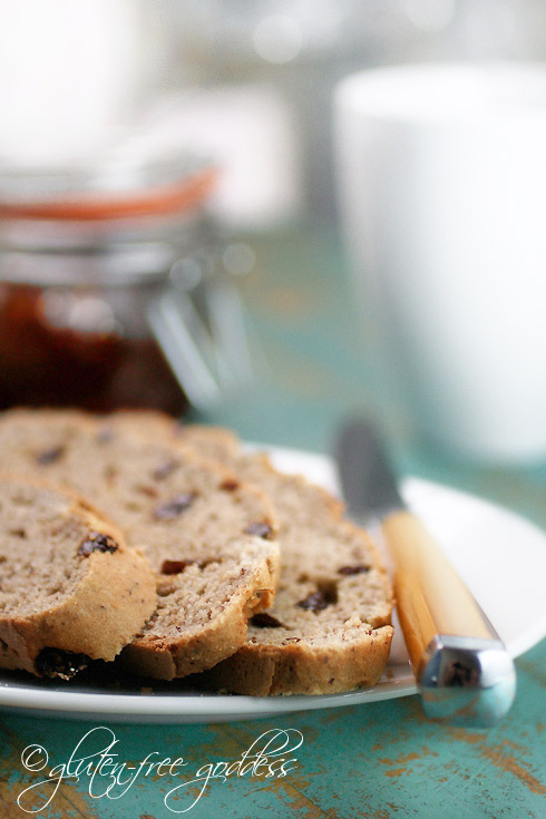 Gluten free and dairy free Irish soda bread with raisins