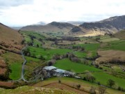 Looking down on Keskadale Farm from the ascent of Knott Rigg