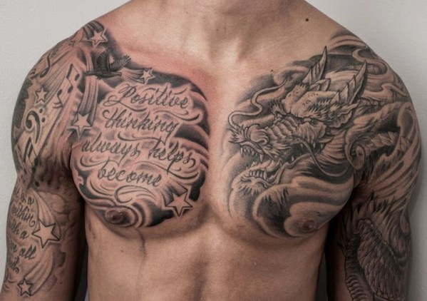japanese dragon Chest Tattoos