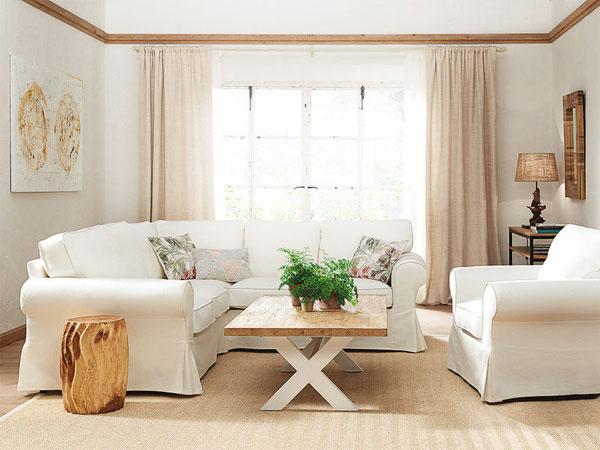 Cobre, blanco y madera en decoración