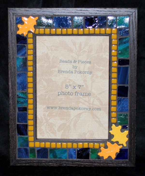 Golden Autumn Leaves 5 X 7 Mosaic Frame Mof1396 - Beads & Pieces