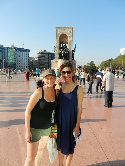 Ashleigh and Beril at Taksim Square, Istanbul