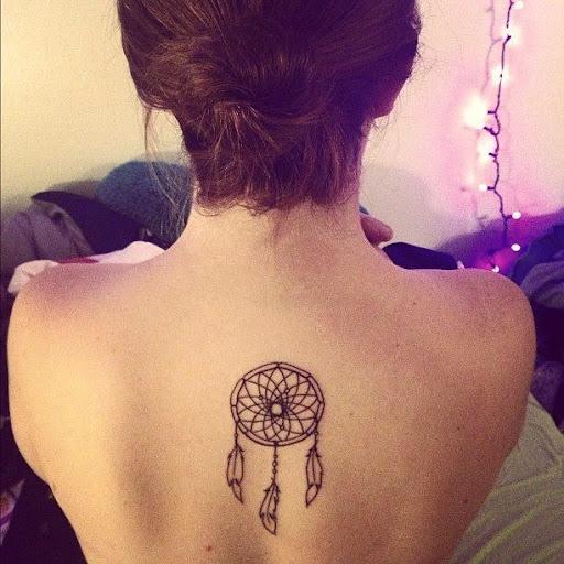 Upper Back Dream Catcher Tattoo On Back