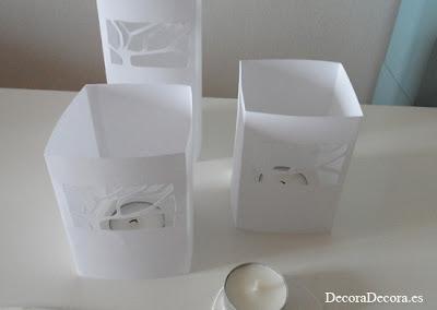 Candelabros de papel DIY.