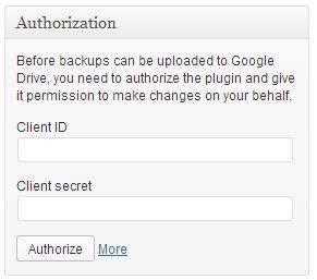 Copy Client ID dan Client Secret pada Google API Dashboard ke halaman ?Backup Settings?.
