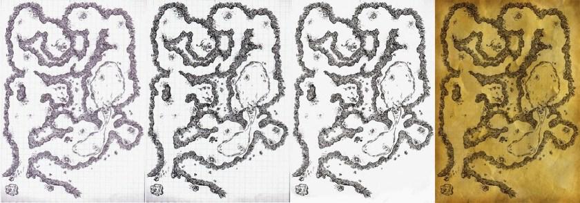 Cuatro pasos del proceso, desde el escaneo inicial hasta el añadido del fondo texturizado.
