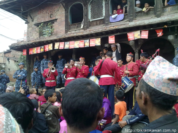 Nepal Police Band performing in Bisket Jatra