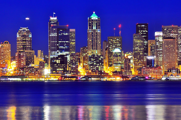 Seattle citylight after sunset