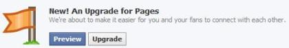 Facebook Pages upgrade notification