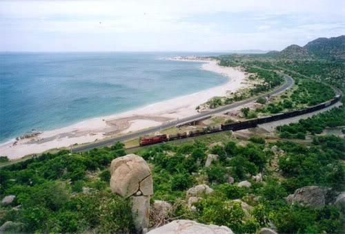Có thể dễ dàng chiêm ngưỡng biển Cà Ná từ quốc lộ 1A.